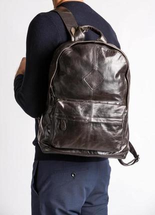 Рюкзак кожаный мужской коричневый стильный casual