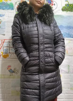 Зимний женский натуральный пуховик с мехом