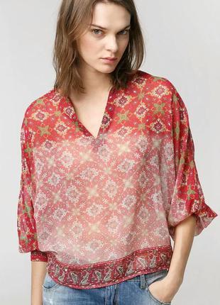Блузка mango с мозаичным принтом