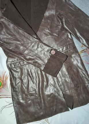 Пиджак на флисе теплый шоколадный коричневый пальто на осень