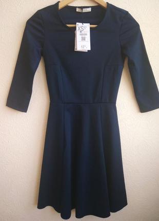 Темно синее платье bershka