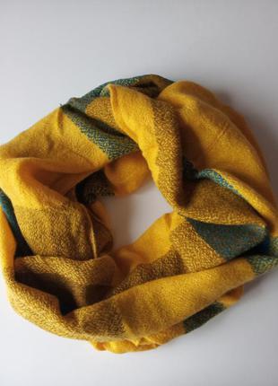 Кашемировый шарф хомут, снуд горчичный
