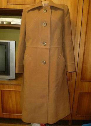 Винтажное теплое демисезонное пальто миди шерстяное осеннее го...