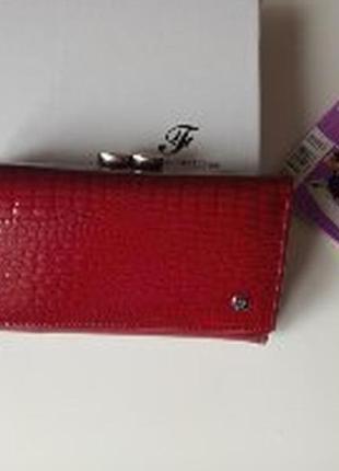 Женский красный лакированный кошелек, натуральная кожа