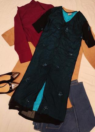Платье прямое бирюзовое с черным чехлом бисер батал большое