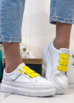 Белые кеды/кроссовки с жёлтыми вставками,белые кроссовки/кеды ...