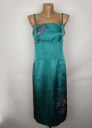 Платье шикарное зеленое шелковое с вышивкой karen millen uk 12...