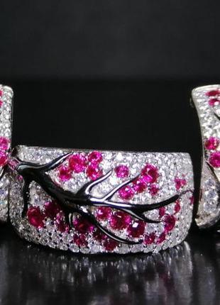 "Комплект (набор) ""сакура"" (серьги, кольцо) серебро 925, ювелир..."
