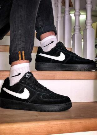 Nike air force black fur, мужские зимние кроссовки найк с мехом
