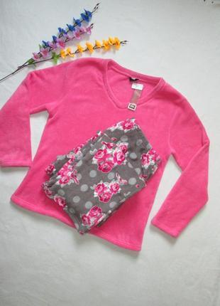 Плюшевая теплая мягкая пижама домашний костюм в цветочный прин...