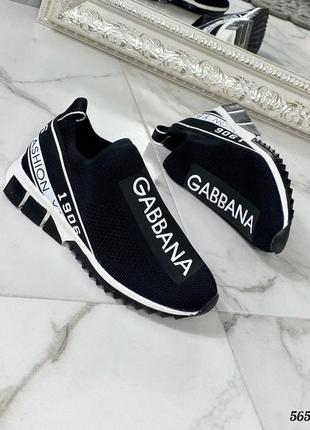 Черные тканевые женские кроссовки dolce gabbana 36-40р