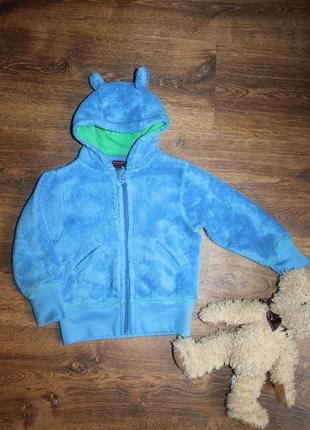 Теплая мягкая детская синяя кофточка, 86-92