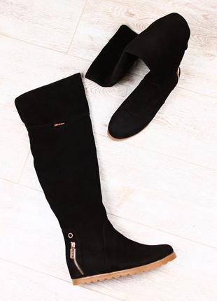 Lux обувь! натуральные зимние женские высокие сапоги ботфорты