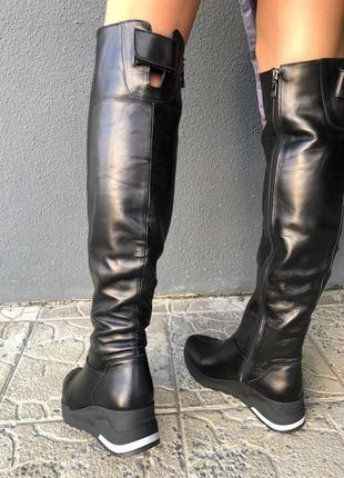 Lux обувь! натуральные зимние кожаные женские высокие сапоги б...