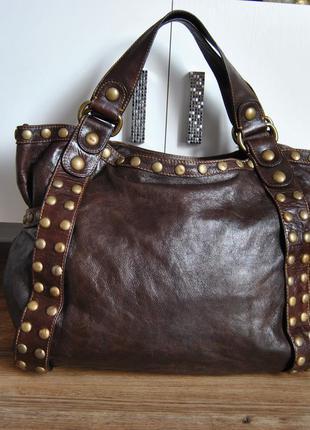 Кожаная большая сумка queen & cult / шкіряна сумка шоппер