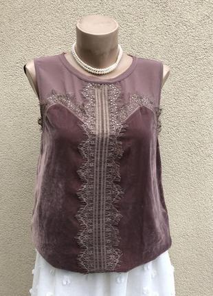 Бархатная,велюровая блуза,майка,кофточка с кружевом,