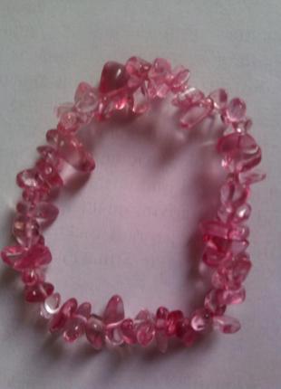 Браслет из камней розового турмалина