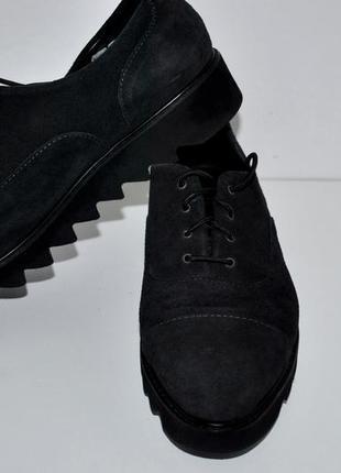Туфли 41 черные замшевые на шнурках классика италия шикарные л...