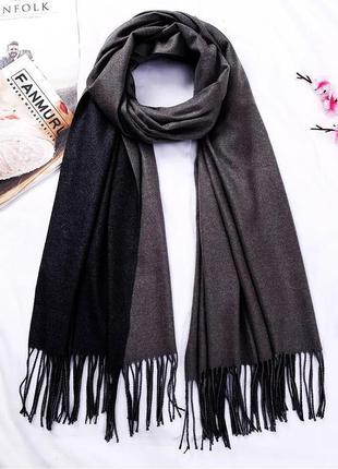 Длинный женский кашемировый шарф-палантин двухцветный черный-с...
