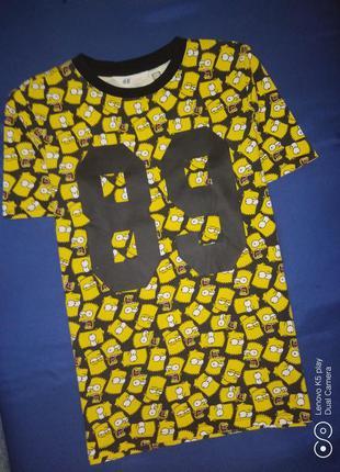 Прикольная футболочка мальчишке 154-164- h&m-