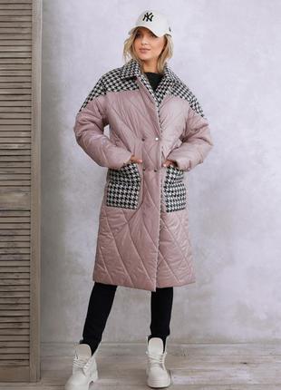 Сиреневое пальто на синтепоне в гусиную лапку