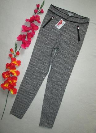 Стрейчевые плотные брюки леггинсы с принтом h&m