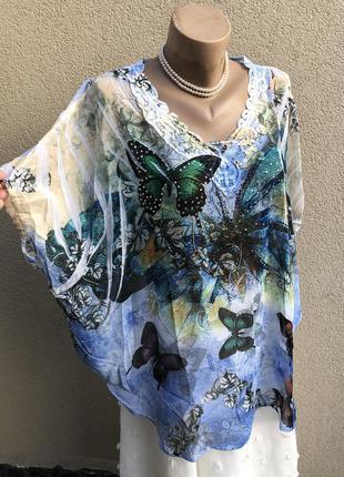 Блуза,рубаха реглан,летучая мышь,стразы,кружево,большой размер