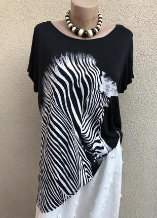 Чёрная футболка, трикотаж блуза, принт по груди, большой разме...