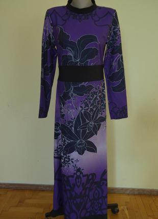 Красивое вечернее платье в орхидеи новое длинный рукав