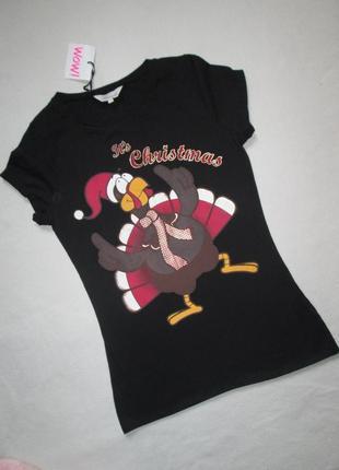 Новогодняя футболка рождественская индейка 100% коттон  peacocks