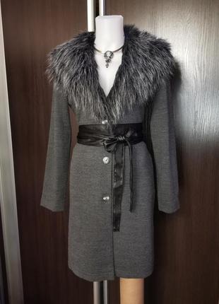 Пиджак удлиненный пальто трикотаж