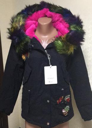 Женская куртка-парка с мехом