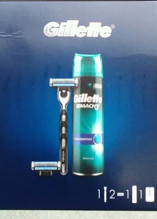 Набор Gillette Mach3 бритва 2к+гель д/г 200+чохол
