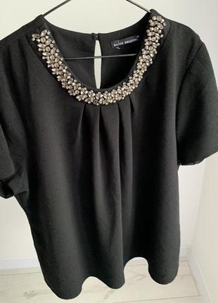 Блузка чорна з камінчиками, блузка david emanuel, святкова фут...