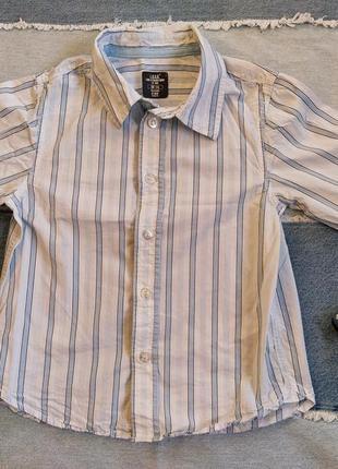 Рубашка белая в голубую полоску сорочка мальчик 110