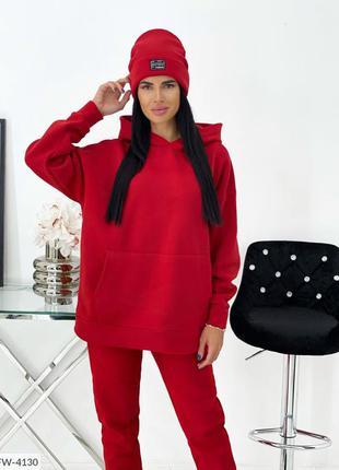 Красный спортивный костюм на флисе с шапкой