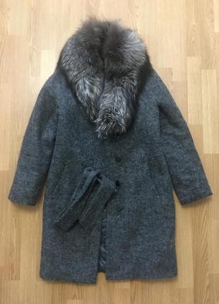 Зимнее пальто мех чернобурка
