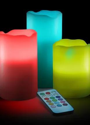 Светодиодные свечи меняющие цвет с пультом управления набор (3шт)