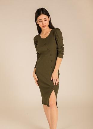 Красивое платье миди в мелкий рубчик S M