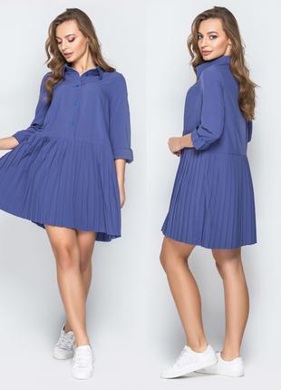 Платье синее свободного покроя, размер S