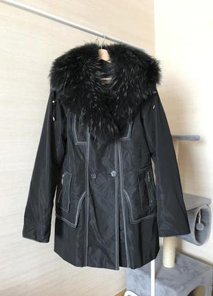 Зимняя куртка-пальто трансформер с мехом чернобурки , размер 4...