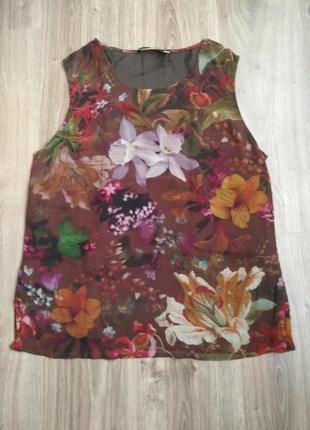 Цветастая блуза топ из жатого шелка