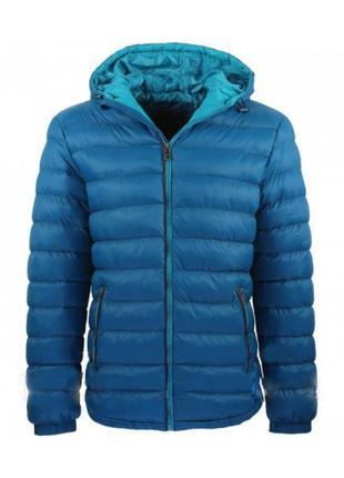 Мужская синяя куртка стеганая с капюшоном демисезонная