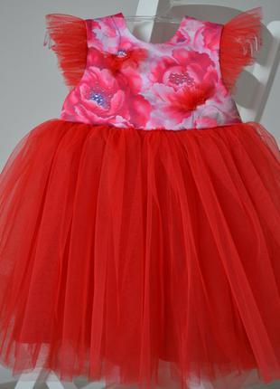 Красивое платье для девочки. маки 80р. 1 год.