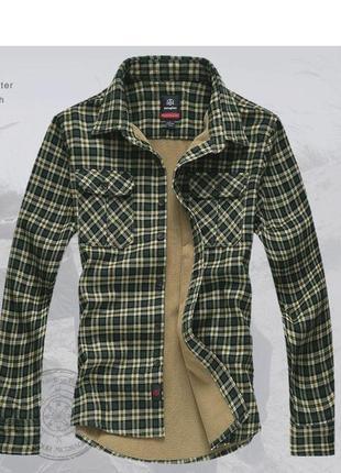 Утепленная мужская рубашка на флисе yataghan  оригинал