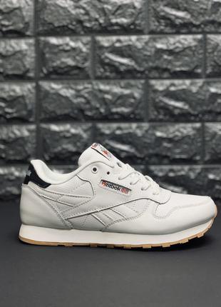Кожаные кроссовки reebok classic leather white рибок классик