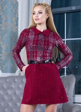 Бордовое теплое короткое платье, размер S