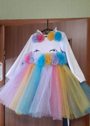 Платье единорожка  для девочки