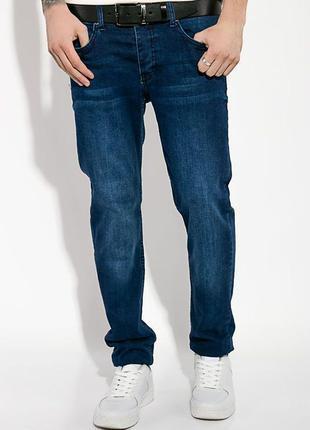 Новые темно синие мужские джинсы с потертостями time of style