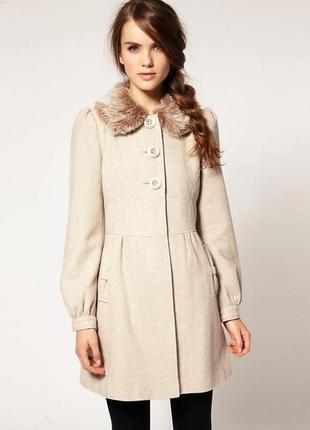 Пальто с меховым воротником a|wear / asos